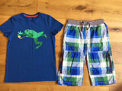 Boys Mini Boden Techno Adventure Check Shorts Frog Top Tshirt Set Outfit 9-10 Y