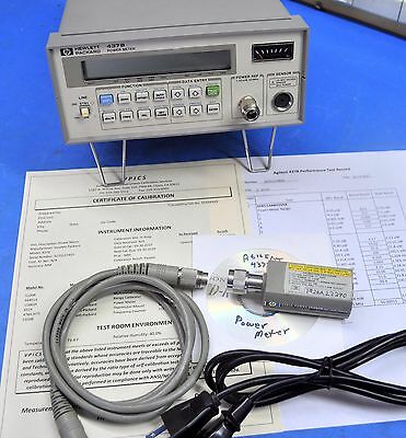 HP Agilent 437B Power Meter, 8481A Sensor, Cable, NIST Calibrated w/ Certificate