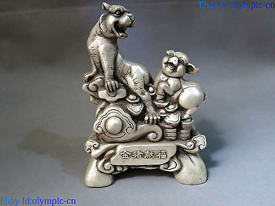 China silver carved Feng Shui lucky riche and honour tiger pig  sculpture Statue