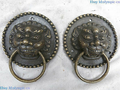 Fine brass sculpture China carved Feng Shui lucky tiger knocker pair Statue