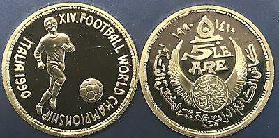Italia 1990 EGYPT, 5 POUNDS SILVER PROOF, FOOTBALL WORLD CHAMPIONSHIP, RARE