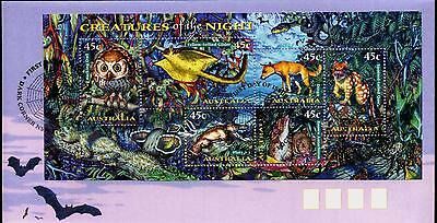 Australia 1997 First Day Cover FDC - Creatures of the Night (M/S)