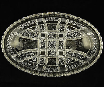 ABP American Brilliant Period Cut Glass Bowl Oval with Flowers - Signed