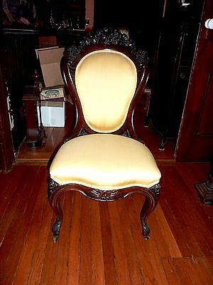 Antique John Henry Belter Laminated Rosewood Victorian parlor side chair