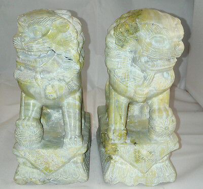 """7"""" Antique Pair Of Carved Stone Fu Foo Dogs"""