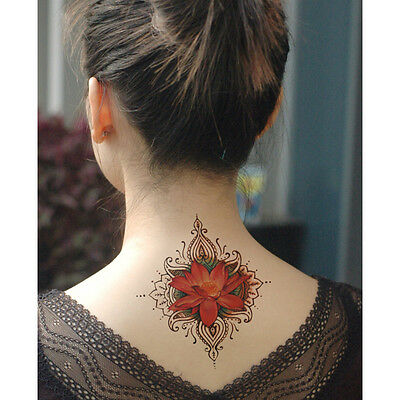 Waterproof Temporary Tattoo Stickers Cute Sexy Red Lotus Flowers Large