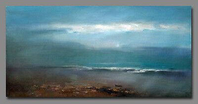 "24""x 48"" Seascape Abstract hand painted oil painting on canvas Modern decor art"