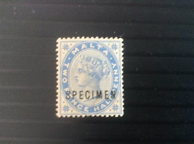 "1885 Malta  2 1/2d dull blue Mint without gum ""opt Specimen "" Very Rare VF SG24s"