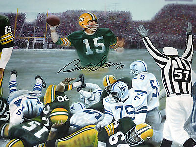 Green Bay Packer Bart Starr Autographed Signed Ice Bowl Tristar Lithograph Coa