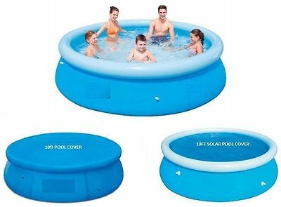 New 8Ft Fast Set Family Swimming Paddling Pool And Covers Family Fun Outdoor