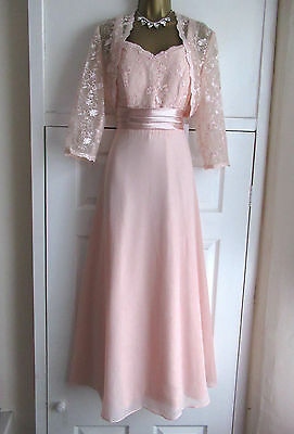 Beautiful Pink Ankle Length Mother of the Bride Dress Suit Jacket Size 10 / 12