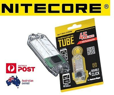 Nitecore T Series TUBE USB Rechargeable Keyring Torch 45 Lumen Keychain Clear