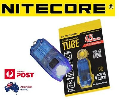 Nitecore T Series TUBE USB Rechargeable Keyring Torch 45 Lumen Keychain Blue