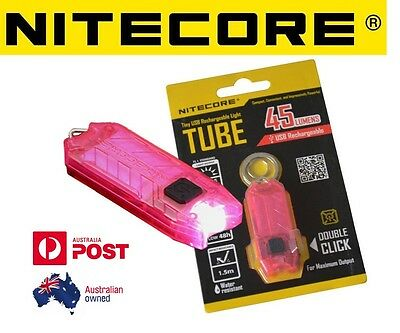 Nitecore T Series TUBE USB Rechargeable Keyring Torch 45 Lumen Keychain Pink