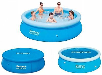 New 10Ft Fast Set Family Swimming Paddling Pool And Covers Family Fun Outdoor