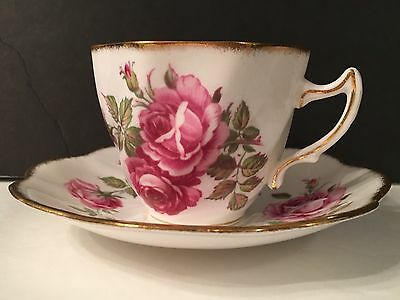 Vintage Rosina Bone China Cup and Saucer. White with Gold Trim Pink Roses