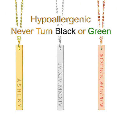 Dainty Personalized Name Vertical Bar Necklace Custom Engraved Stainless Steel