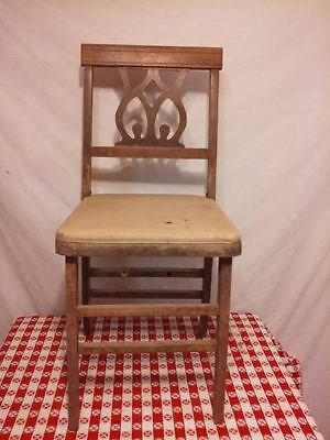 Antique Vintage Wood Wooden Folding Chair Country Farm House Decore