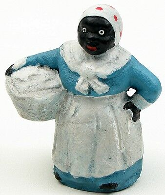 "Cast Iron Laundry Girl Mammy Coin Bank 5"" Figurine Vintage-Style Black Americana"