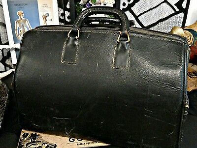 Antique Large Black Leather Doctor's Medical Bag