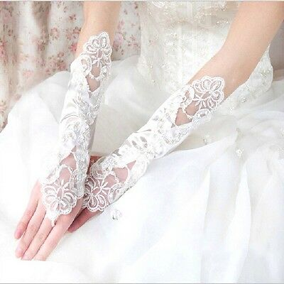 Gloves Bridal White Fingerless Lace Sequin & Satin Wedding Fancy Dress - UK