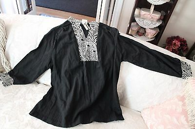 Vtg. Maternity TOP NEW OLD STOCK W/TAGS  Black 60s/70s  Blouse Top/Pants Size 40