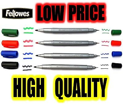 CD DVD Permanent Marker Pens DOUBLE TIP FINE Black Green Red Black Pack of 4
