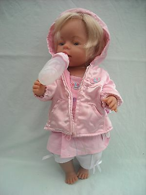 Blonde Haired Baby Born Doll With Clothes & Bottle