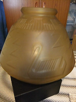 Large French Frosted Glass Art Deco Vase