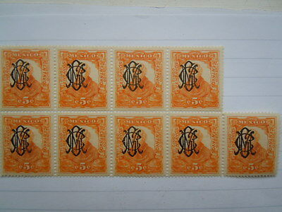 Mexico Stamps  Block Of 9 Overprints  Villa Monogram Scott#459