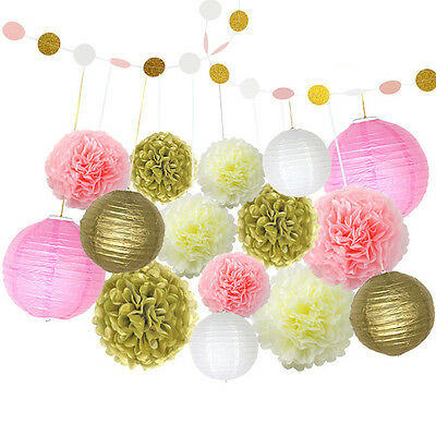 16pcs Tissue Pom Flowers Paper Lanterns and Paper Garland Wedding Party Decor