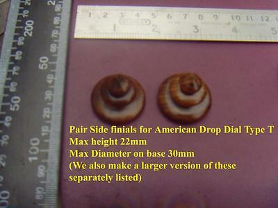 da type T - Pair stained wood SIDE FINIALS FOR AMERICAN WALL CLOCKS