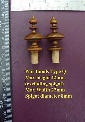 da type Q - Pair stained wood FURNITURE  clock FINIALS furniture DIY