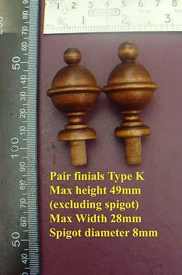 da type K - Pair stained wood vienna regulator wall clock FINIALS furniture DIY