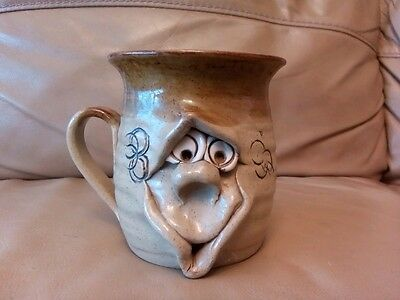 Pretty Ugly Face Pottery Mug *Rare & Unique* retro, vintage, Hand Made (Wales)