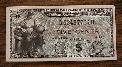 Military Payment Certificate MPC Series 481 5C Five Cent Note GEM Uncirculated