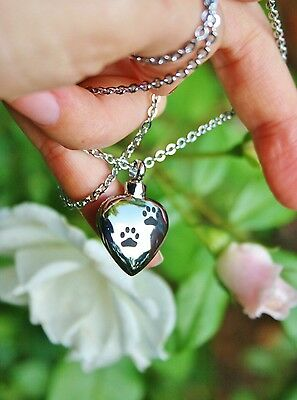 Pet Cremation Jewelry Urn Pendant Ashes NECKLACE Dog Cat Heart Paw Print Loved