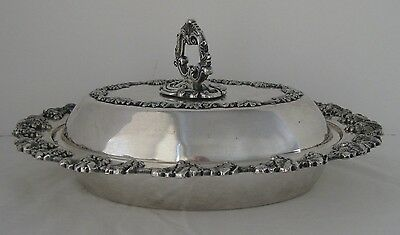 Vintage Sheffield Serving Dish Tray 722 Nickel Silver Plated w/ Grape Pattern