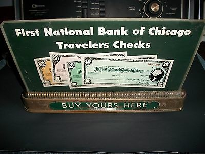 First National Bank Of Chicago Travelers Checks OLD RARE LIGHT UP SIGN.WORKING.