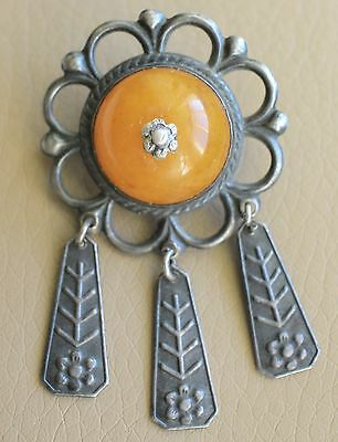 Vintage Antique 50-60's year Russian Soviet time 875 Silver Amber Brooch 4,2 Gr.