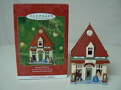 Hallmark Ornament 2001 SERVICE STATION #18 Nostalgic Houses and Shops NEW IN BOX