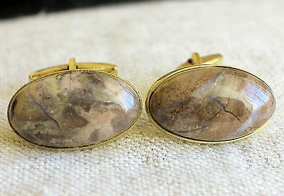 FAB cufflinks Antique RUSSIAN sterling SILVER 875 genuine Ural Agate Gold plated