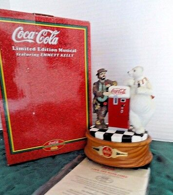 "Coca Cola & Emmett Kelly ""cool Off With Coke"" Musical Figurine 1998 Numbered Coa"
