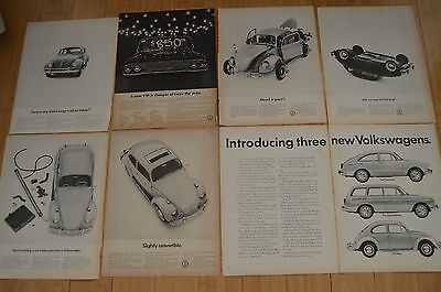 Lot of 7 Different Vintage Print AD (s) from  1963, 1965, 1966 Volkswagen Bug