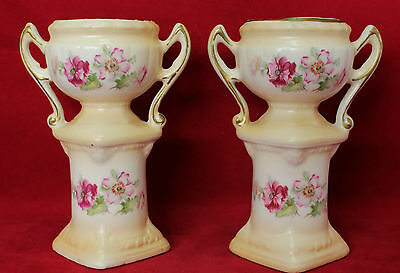 1 Matching Pair of Ceramic Vases/Urns - Made in Czechoslovakia - Red Stamp