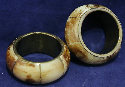 1 Pair of Napkin Ring Holders - Bone Wrapped Brass