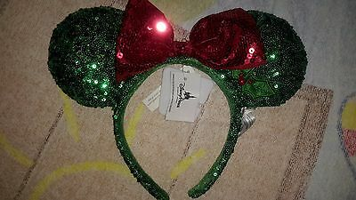 NEW Disney Minnie Mouse Ears Red Green Sequin Headband w/Bow Christmas Holiday