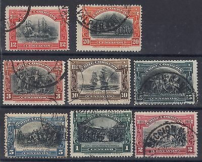 Chile 1910 - Independence Centenary - 8 stamps USED