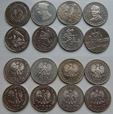 1981 - 1990 - 50-10.000 zlotych - 8 coins set --- used condition