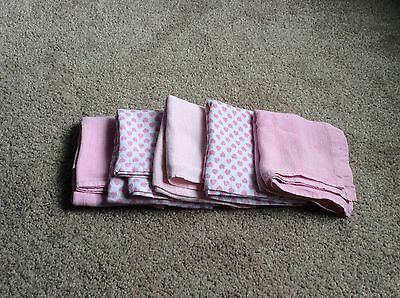5 Lovely Muslin Cloths For Baby Girl Pink New Without Packaging